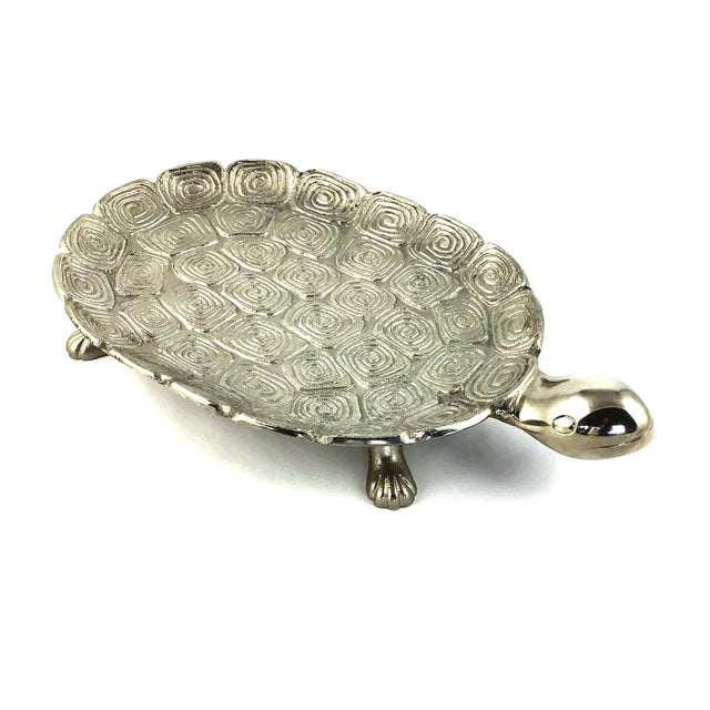 Figurative 1980s Giant Sea Turtle Carved Aluminum Catchall Tray For Sale - Image 3 of 13
