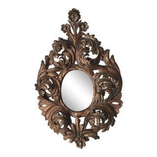19th Century Baroque Carved Gilt Gessoed Wall Mirror
