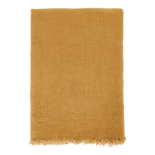Once Milano Linen Summer Throw in Mustard For Sale