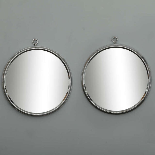 Mid-Century Round Silver Mirrors - A Pair - Image 2 of 6