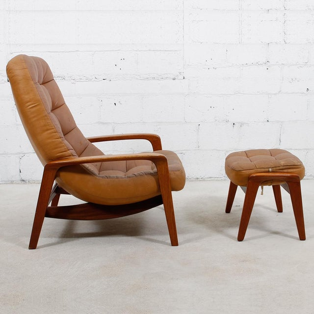 Leather Mid-Century Modern Lounge Chair & Ottoman - Image 3 of 9
