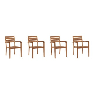 Venice Teak Stacking Outdoor Armchair (Set of 4) For Sale