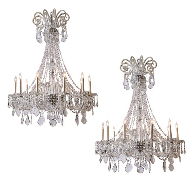 Pair of Cut Crystal Chandeliers For Sale - Image 9 of 9