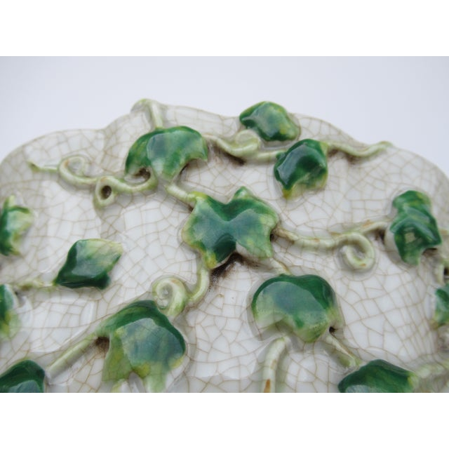 Ceramic Vintage Ceramic Crackle Center Bowl With Adorned English Ivy by United Wilson/Hong Kong For Sale - Image 7 of 13