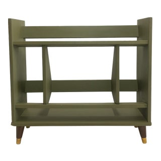 Olive Green Mid-Century Bookcase