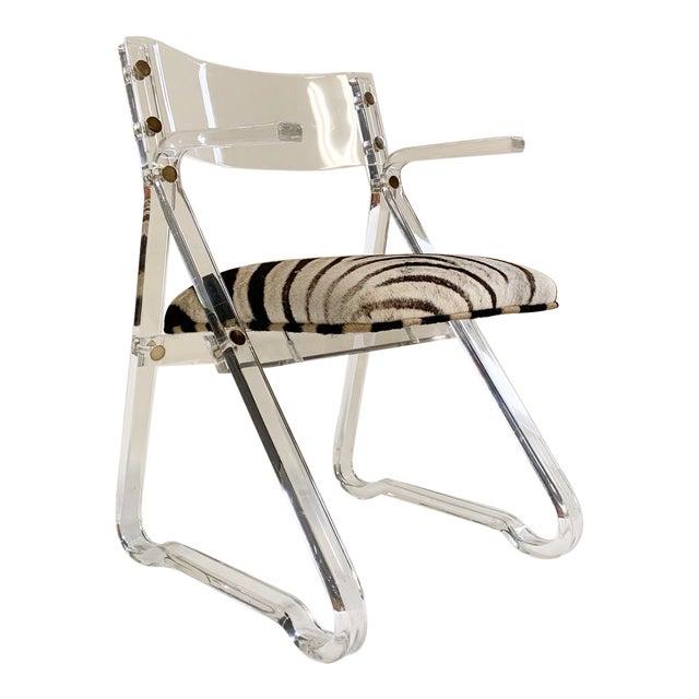 Vintage Mid Century Zebra Hide & Lucite Desk Chair For Sale