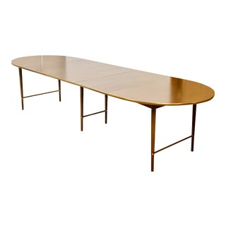 1960s Paul McCobb Connoisseur Collection Walnut and Brass Extendable Dining Table For Sale