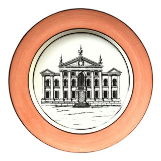Vintage Italian Mottahedeh Creil Creamware Neoclassical Palazzo Architecture Small Plate For Sale