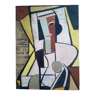 Mid 20th Century Cubist Portrait of Female Mixed-Media Painting For Sale