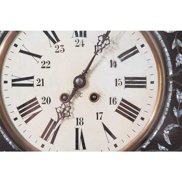 Mid 19th Century French 19th Century Napoleon III Ebony Wall Clock For Sale - Image 5 of 7