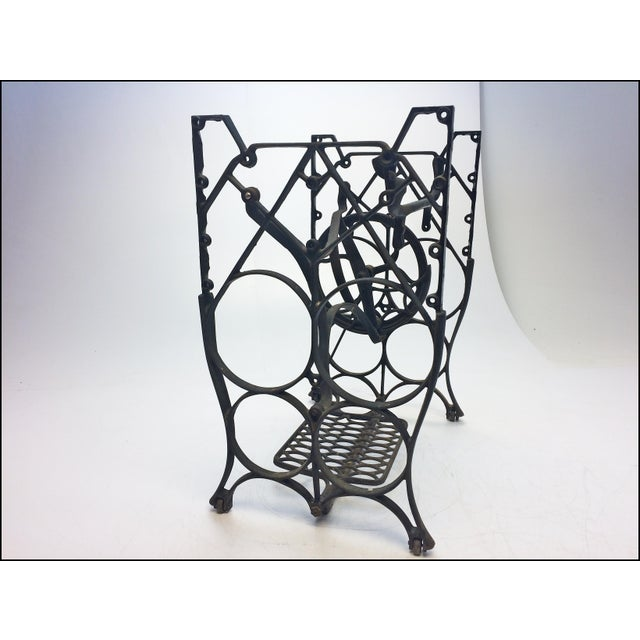 Vintage Industrial Black Iron Treadle Sewing Machine Base - Image 5 of 11