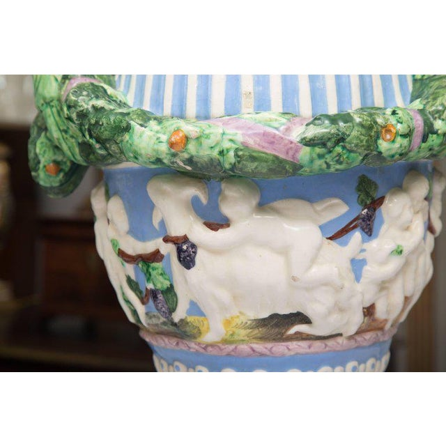19th Century Della Robbia Italian Hand-Painted and Glazed Lidded Urn For Sale - Image 9 of 10