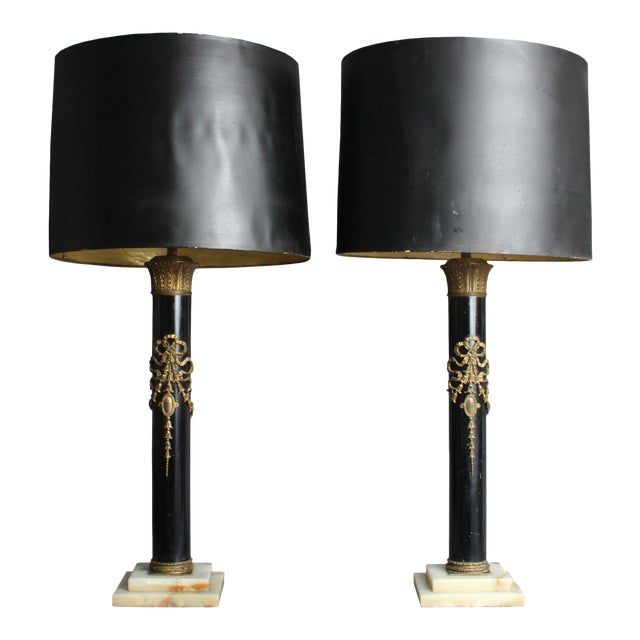 Early 20th Century Empire-Style Brass and Enamel Table Lamps - a Pair For Sale