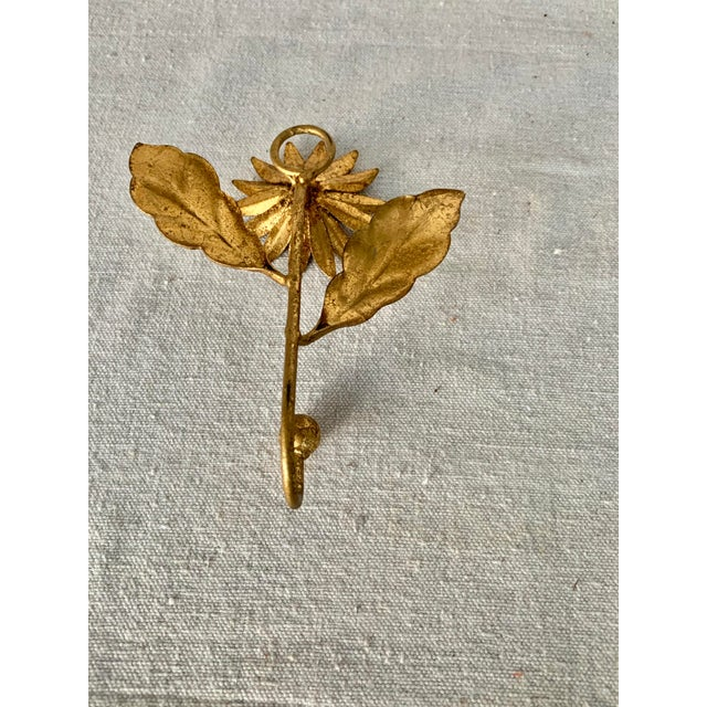Mid-Century Modern Vintage Gilded Italian Tole Floral Hook For Sale - Image 3 of 5