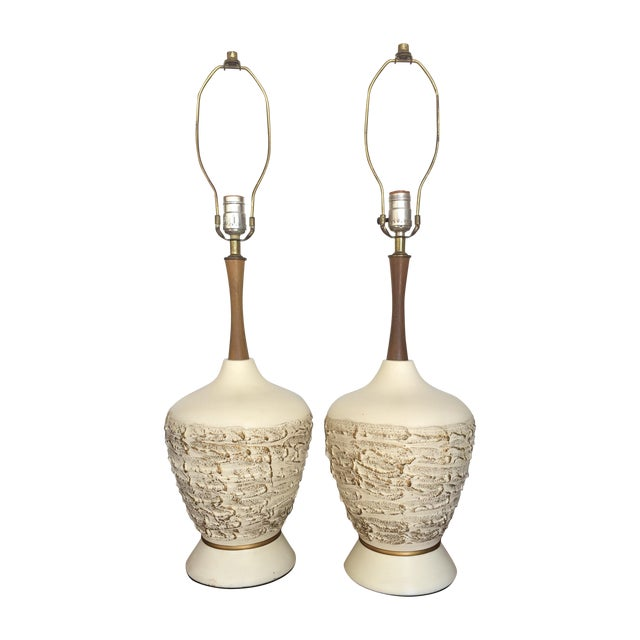 Mid-Century Ceramic & Walnut Table Lamps - A Pair - Image 1 of 7