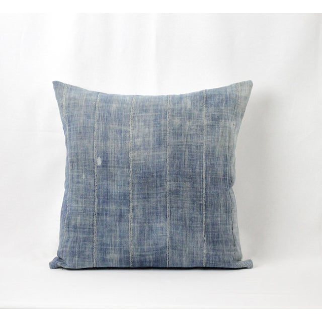 Vintage Blue Distressed Denim with vertical seams style pillow, with zipper closure. Back is in a natural linen, finished...