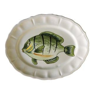 Vintage Italian Multi-Colored Green Fish Scalloped Platter For Sale