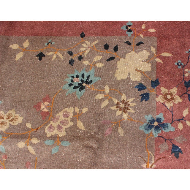 Tan 1920s Vintage Chinese Art Deco Rug - 9′ × 11′8″ For Sale - Image 8 of 11