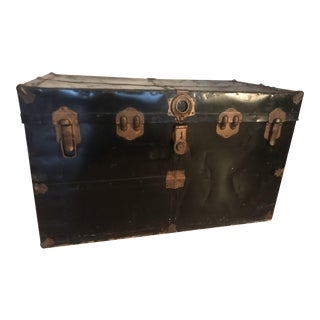 Vintage Black Wood Trunk