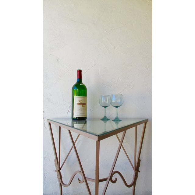 Vintage Mediterranean Wrought Iron and Glass Tall Out door Table Bar This high quality table is the perfect surface for...