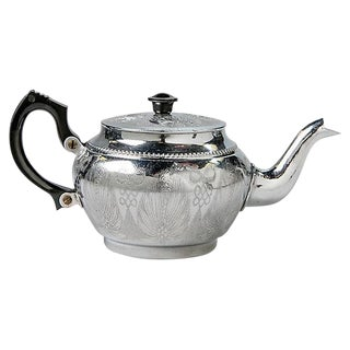 Small English Engraved Aluminum Teapot For Sale