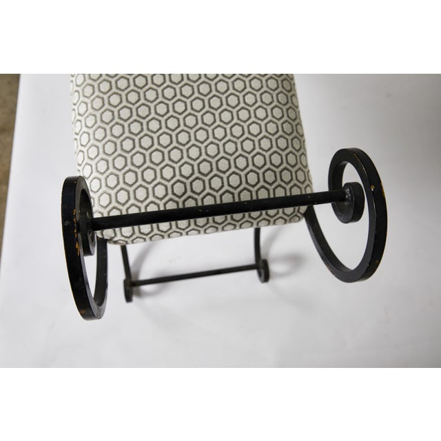 Hollywood Regency Scrolling Iron Bench in Jim Thompson Fabric For Sale In Atlanta - Image 6 of 12