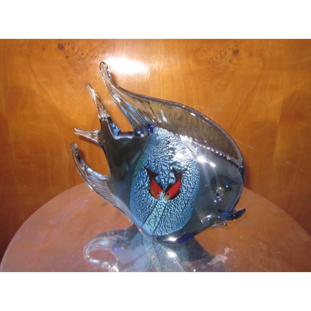 Figurative 1960s Murano Glass Italian Art Glass Blue and Red Figural Fish Sculpture Object For Sale - Image 3 of 11