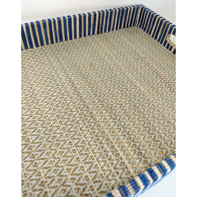 Organic Rectangular Woven Tray With Cotton and Rattan For Sale In Providence - Image 6 of 10