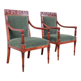 Baker Furniture Carved Walnut and Velvet Upholstered Lounge Chairs, Pair For Sale