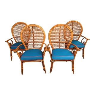 1960s Mid-Century Modern Rattan & Bamboo Arm Chairs - Set of 4