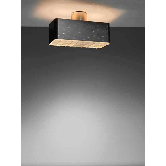 Idman Paavo Tynell Rectangular 9068 Ceiling Lamp in Black and White, Finland, 1950s For Sale - Image 4 of 4