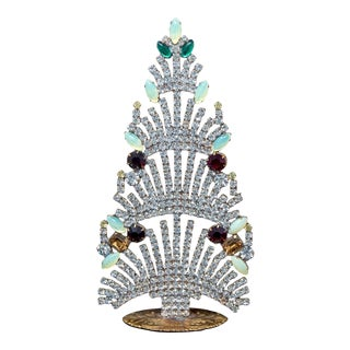 Bohemian Czech Crystal and Rhinestone Table Top Mantle Christmas Tree For Sale