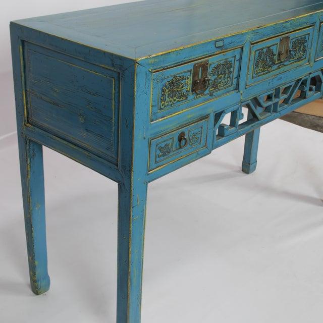 Asian Antique Hand-Carved Blue Desk For Sale - Image 3 of 5