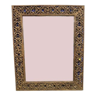 Indian Wood Carved Mirror For Sale