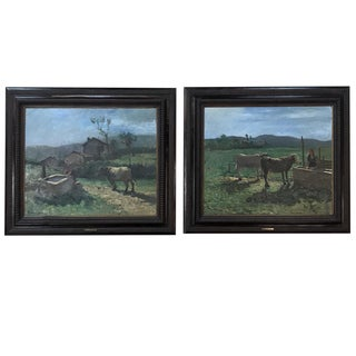 Pair Oil Paintings by Contardo Barbieri (1900-1966) For Sale