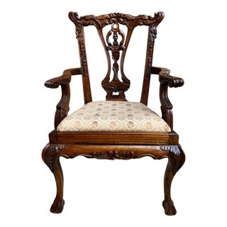 Antique French Carved Mahogany Doll Child's Chair Louis XV Style 20th Century For Sale