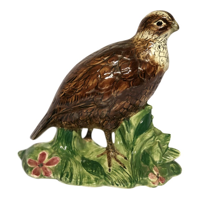 20th Century Cottage Ceramic Quail Figurine For Sale