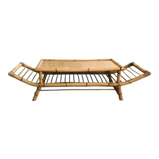 1950s Boho Chic Bamboo Coffee Table For Sale