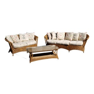 Vintage Henry Link Three Piece Wicker Furniture - Set of 3 For Sale