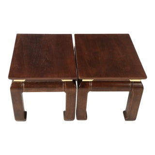 Chinese Style Wooden End Tables - A Pair For Sale