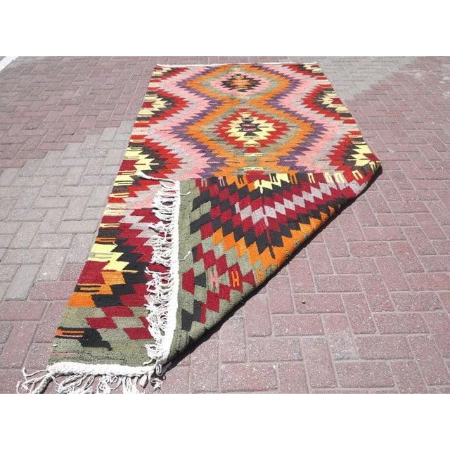 Vintage Turkish Kilim Rug For Sale - Image 7 of 8