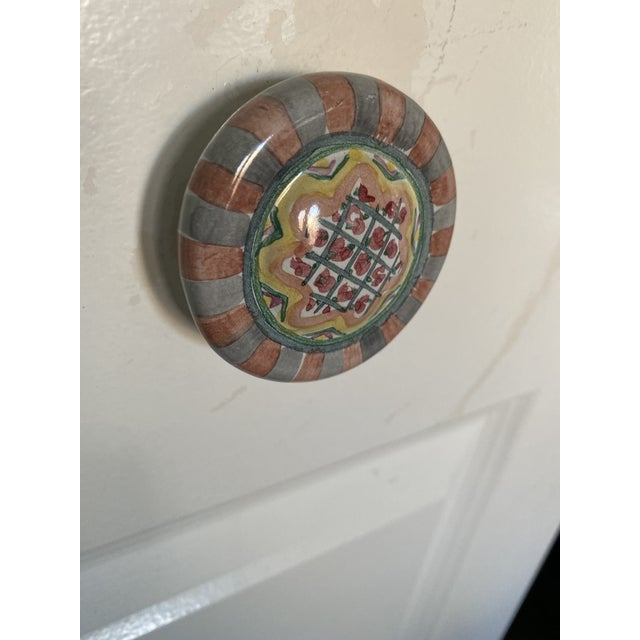 Blue 1990's Mackenzie Childs Hand Painted Ceramic Door Pulls - a Pair For Sale - Image 8 of 13