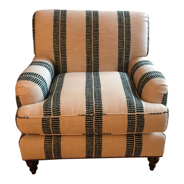 English Clay Mclaurin Fabric Upholstered Roll Arm Club Chair For Sale