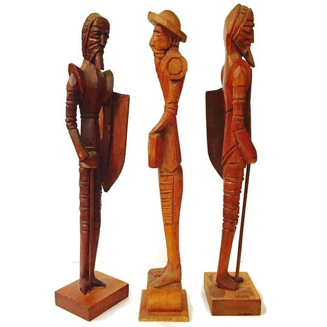 Mid Century Wood Carved Don Quixote Statues - Set of 3 For Sale In Richmond - Image 6 of 6