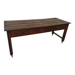 European Antique 8 Drawer Plank Top Table For Sale