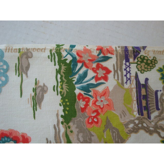 Chinoiserie Pagoda Cotton Fabric - 4.8 Yards - Image 4 of 6