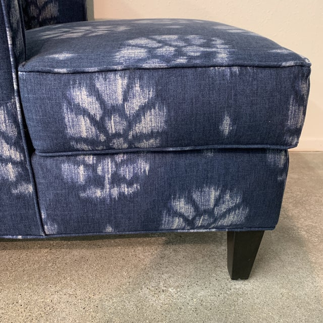 Wood Blue and White Contemporary Wing Chairs For Sale - Image 7 of 8