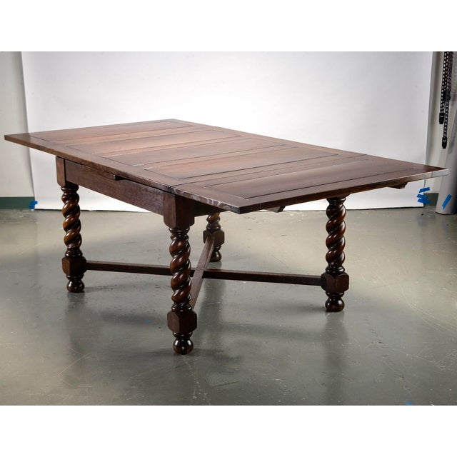 1940s Dutch Oak Refectory Table With Large Barley Twist Legs For Sale - Image 5 of 11