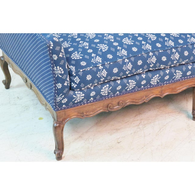 Trouvailles Furniture Inc. Louis XV Trouvailles Style Blue Upholstered Chaise Lounge For Sale - Image 4 of 7