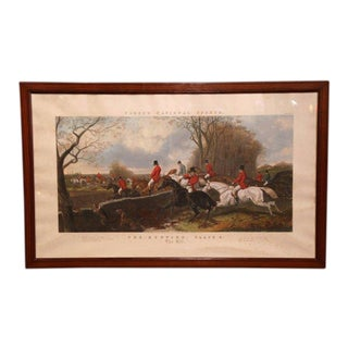 """Large 19th Century English Framed Watercolor Fox Hunt Scene """"The Hill"""" Dated 1852"""